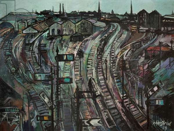 Preston Station, 1959 (oil on board)