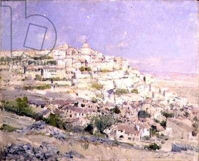 Hill Top Town (oil on canvas)