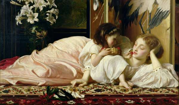Mother and Child (Cherries) c.1865 (oil on canvas) (see also 103000)