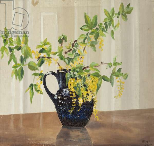 Still Life, Blue Jug with Yellow Flowers, 1951 (oil on canvas)