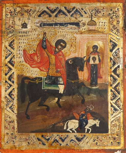 Saint Demetrius Vanquishing a Pagan Saint (tempera on panel)