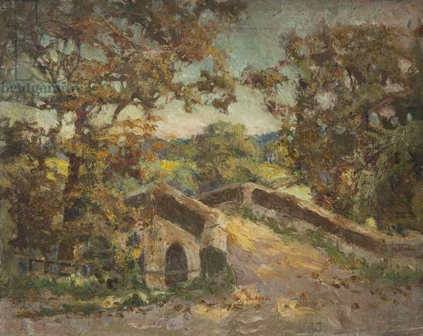 Landscape with Bridge (oil on board)