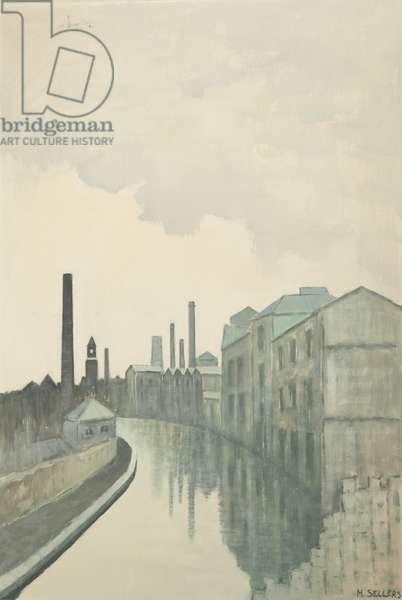Canal Scene, c.1970 (oil on board)