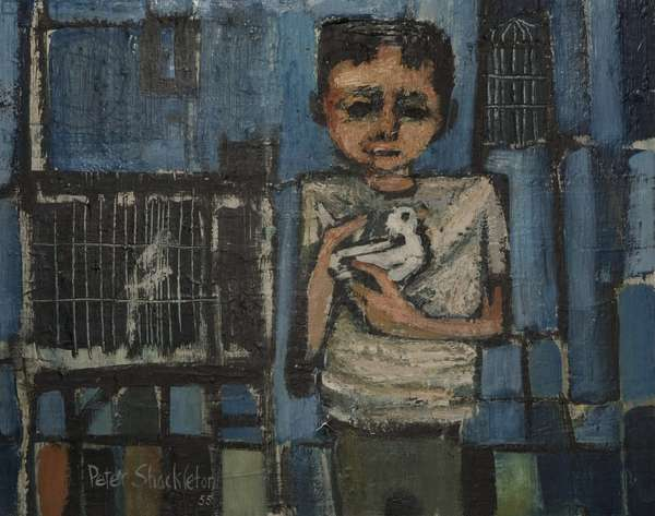 Boy with White Bird, 1955 (oil on canvas)