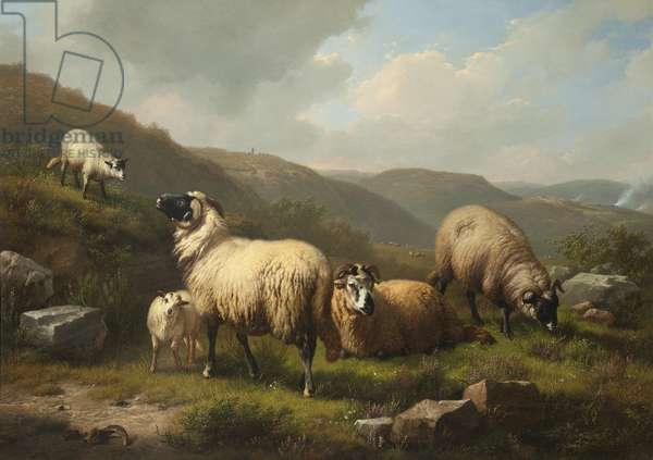 Landscape with Sheep, c.1862 (oil on panel)