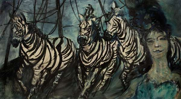 Zebras, c.1970 (oil on canvas)