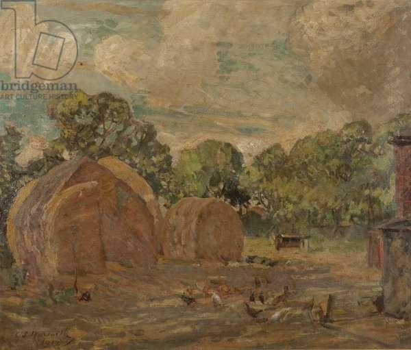 The Stack Yard, Sydney's Far, Freshfields, near Southport, 1912 (oil on canvas)