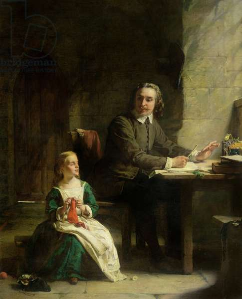 In Bedford Jail - John Bunyan (1628-88) and his Blind Daughter (oil on canvas)