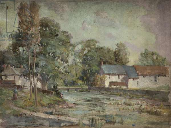 Cottages by River, Malham (oil on board)