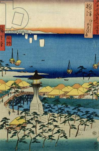The Shore at Sumiyoshi showing the Village and Lighthouse, Settsu Province from 'Famous Places of the Sixty Provinces', 1853 (colour woodblock print)