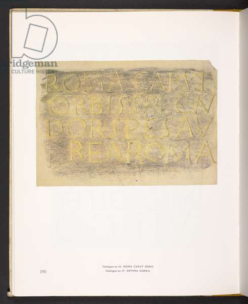 David Jones's ROMA CAPVT ORBIS (SPLENDOR SPES AVREA ROMA) in Nicolete Gray's book 'The Printed Inscriptions of David Jones' (colour litho)