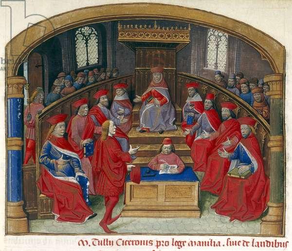Harley 2681, fol.2, Cicero defends the Manilian Law, 1483 (vellum)