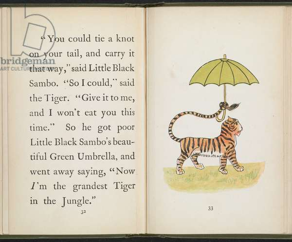 A tiger holding an umbrella, from 'The story of Little Black Sambo' by Helen Bannerman, 1899 (colour litho)