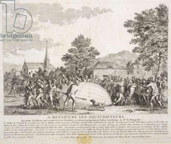 Alarme Générale des Habitants de Gonesse, occasionée par la chute de Ballon Aréostatique de Mr de Montgolfier