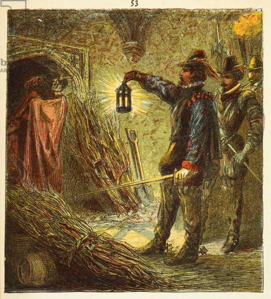 The capture of Guy Fawkes'. Guy Fawkes discovered in the vaults under Parliament, with the gunpowder, on 5 November 1605.