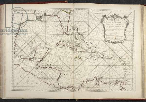 Map showing the Gulf of Mexico, Carte reduite du golphe de Mexique et des isles de l'Amerique, 1749 (engraving)
