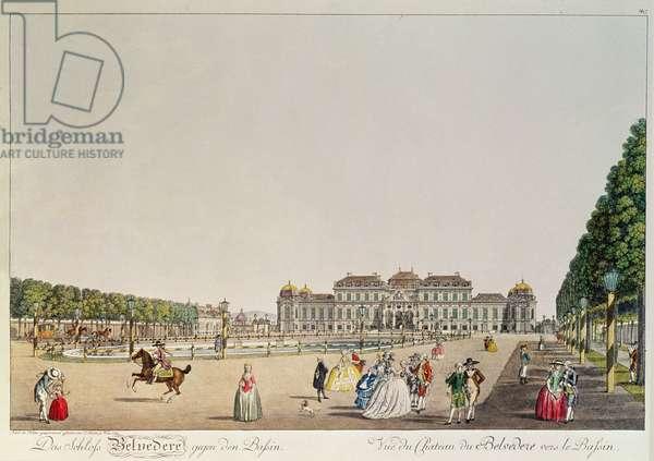 The Schloss Belvedere, Vienna from across the lake.  Pub. Schutz, Vienna 1785
