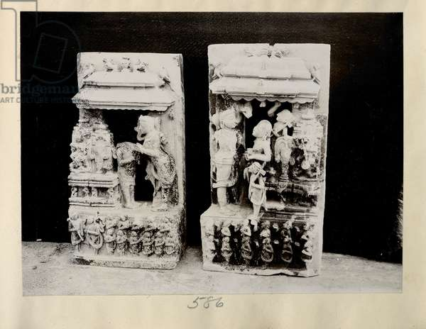 Kanarak, Black Pagoda: two chlorite slabs, representing Surya, attending upon Jagannath, 1908-09 (b/w photo)