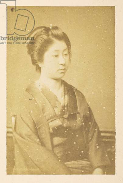 O'Wacka San [Portraits of Japanese women],  Photographer: UnknownLucas Collection: Photographic record of the world tour of Charles James and Morton P,  Lucas, 1877-79, Dimensions: 87 mm x 56 mm