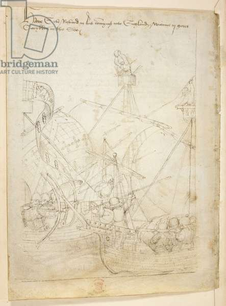 Cotton Julius E IV English longbowmen shoot at French crossbowmen in a ship battle in the Seine estuary in 1416, illustration from 'The Beauchamp Pageant', 1485 (ink on vellum)