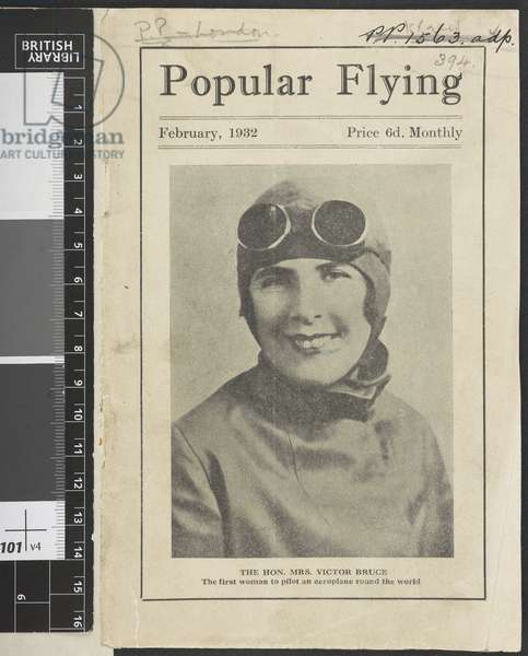 Front cover. The Hon. Mrs Victor Bruce the first woman to pilot an aeroplane around the world.Popular Flying, 1932