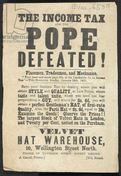 Advert for the Velvet Hat Warehouse, 1887 (print)