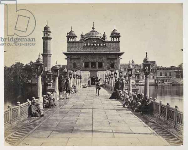 Entrance to Sikh Temple, Amritsar, 1870 (b/w photo)