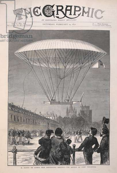 Front cover image from The Graphic, Saturday, February 24, 1872. 'M. Dupuy de Lome's New Navigating Balloon - The Ascent at Fort Vincennes'.