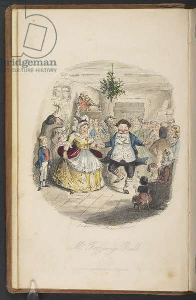Mr Fezziwigg's Ball, from The First Edition of 'A Christmas Carol' by Charles Dickens, 1843 (litho)