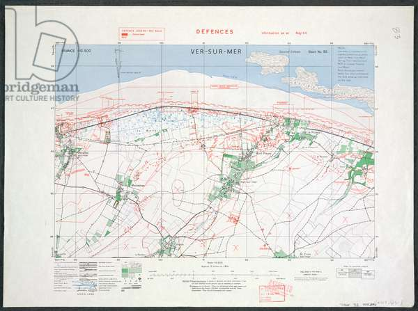 Ver-Sur-mer, on the French coast. 'Gold beach'. A map of the Second World War. On 6 June 1944, D-Day, the British 50th Infantry division landed at Ver-sur-Mer, in the 'Gold beach' sector.
