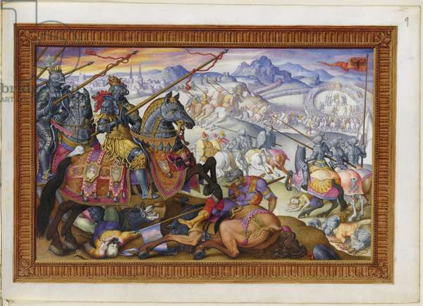 Add MS 33733 f.9 Suleiman and his army driven from the Siege of Vienna, 1529, from 'The Triumphs of Charles V, c.1556-75 (ink & colour on vellum)