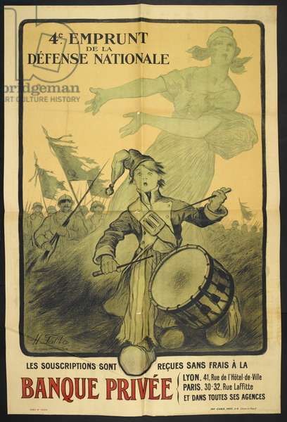 A French propaganda poster depicting a drummer boy leading soldiers into battle.