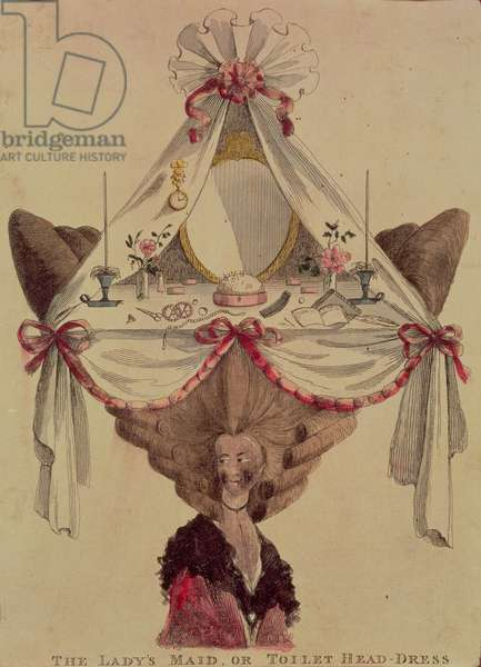 The Lady's Maid or Toilet Head Dress, Caricature of 18th century hair fashions
