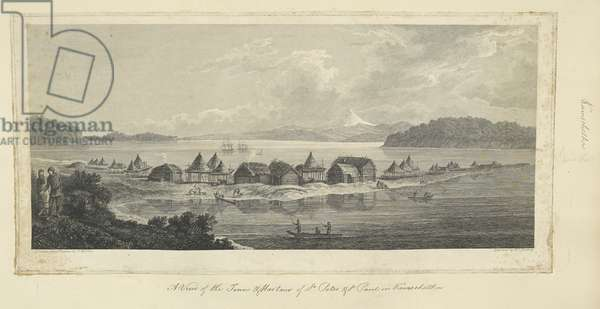 A view of the town & harbour of St Peter and St Paul in Kamtschatka; Drawn by John Webber.  A view of the town and harbour of St Peter & St Paul (Petropavlovsk) looking towards the entrance of Avacha Bay. The village is shown on the sandy peninsula with Kamchatkan summer huts and Russian log huts. A man and woman at left; a canoe containing three men in the central foreground, other groups of figures along the shore; the Resolution and Discovery in the Bay in the distance, further off a snowy peak. In 1779, Captain James Cook's Discovery and Resolution anchored in the bay of Petropavlovsk-Kamchatsky, following Cook's death.