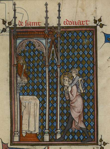 Detail of a miniature with Edward the Confessor carrying Gilly Michael, the Irish beggar and cripple, on his back to the altar at Westminster Abbey, at the beginning of the Life of Edward the Confessor