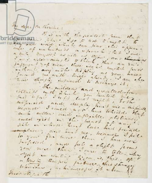 Letter from Charles Dickens to Catherine Hogarth, May 1835. Extract from letter: 'The sudden and uncalled-for coldness with which you treated me ... both surprised and deeply hurt me'.