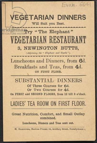 Advert for the Elephant, vegetarian restaurant, 1889 (print)