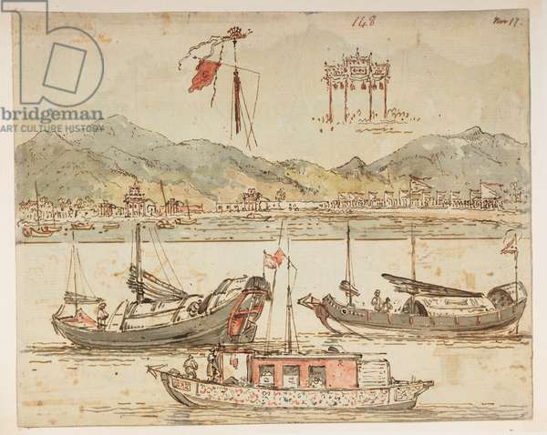 f.59 148 Boats and triumphal arches., from an Album of 372 drawings of landscapes, coastlines, costumes and everyday life made during Lord Macartney's embassy to the Emperor of China, between 1792 and 1794 (pencil & w/c on paper)
