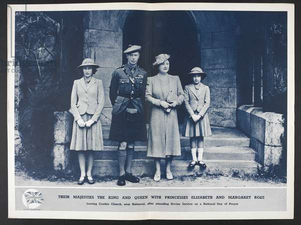 Their Majesties the King and Queen with Princesses Elizabeth and Margaret Rose leaving Crathie church, near Balmoral, after attending divine service on a national day of prayer, 1938 (litho)