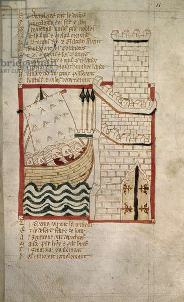 Invasion of Scots and Danes, from the Verse Chronicle of 'Roman de Brut' (vellum)