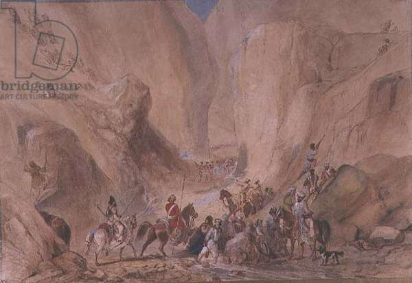 J.27 no.6 The opening into the narrow pass above the Siri Bolan, from a Johnson album, 19th century, (pencil and w/c)