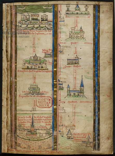 Royal 14 C. VII, f.2 Part of an Itinerary from London to Jerusalem, illustration from 'Historia Anglorum', 1250-59 (vellum)