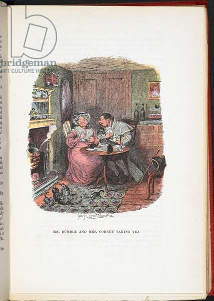 Mr Bumble and Mrs Corney taking tea, from The Adventures of Oliver Twist ... With twenty-four illustrations by Cruikshank, 1911 (colour litho)