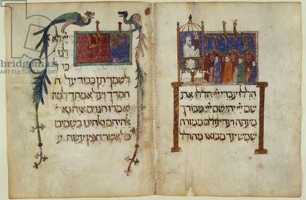 Add. 14761, fol.65v & 72, Synagogue scene, from 'Barcelona Haggadah' (vellum)