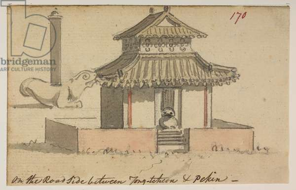 170 Temple 'On the Road side between Tong-tcheon & Pekin.', from an Album of 372 drawings of landscapes, coastlines, costumes and everyday life made during Lord Macartney's embassy to the Emperor of China, between 1792 and 1794 (pencil & w/c on paper)