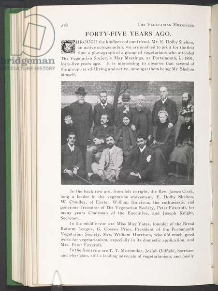 Photo of Gandhi with vegetarian society members in 1891, from 'The Vegetarian Messenger and Health Review of September 1936' (b/w photo)