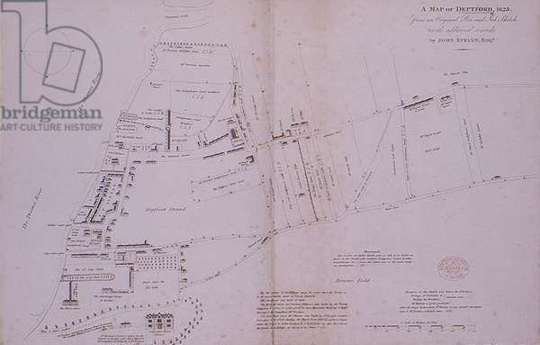 Sketch map of Deptford, 1623
