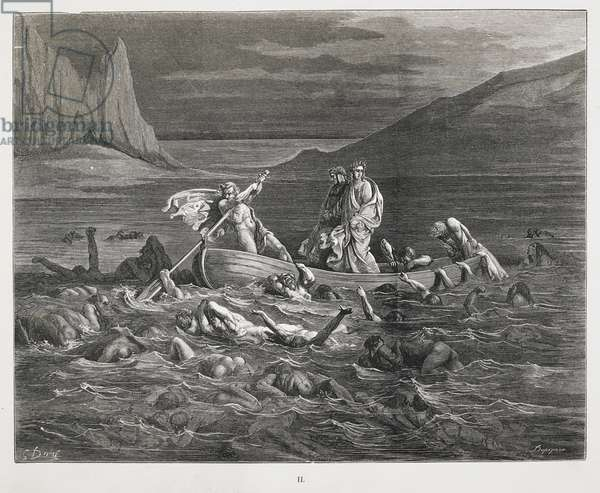 Dante and Virgil are rowed in the ferry across the River Styx, in the fifth Circle of Hell, which contains the which the Wrathful who spend eternity struggling with one another; the Sullen lie bound beneath the Styx's waters, choking on the mud.
