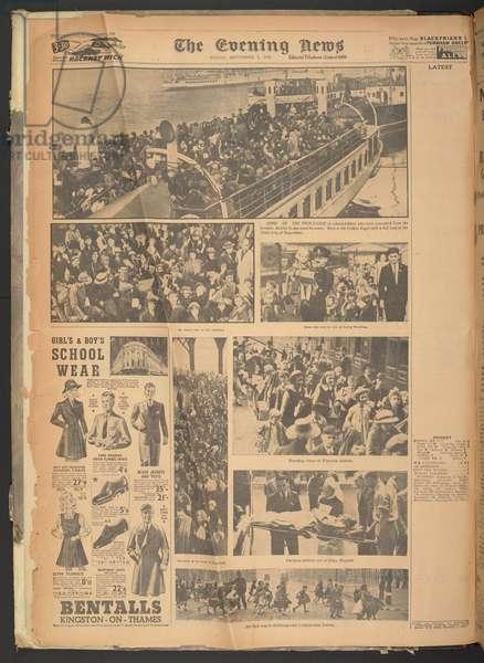 Evening News, 1st September 1939 (newsprint)