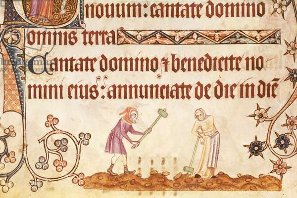 Add 42130 f.171v Breaking stones, from the Luttrell Psalter, begun prior to 1340 for Sir Geoffrey Luttrell (1276-1345) (vellum)
